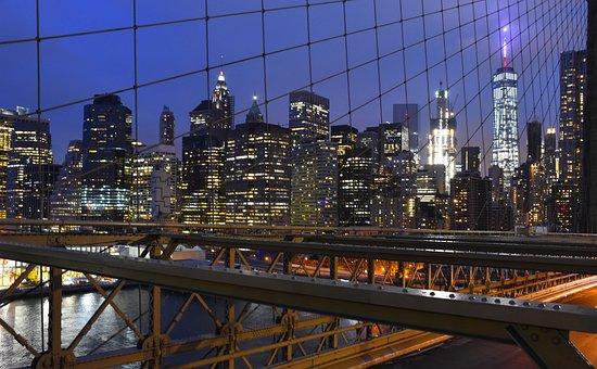 Brooklyn Bridge, Bridge, Brooklyn, New York, Night