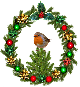 Christmas, Wreath, Robin