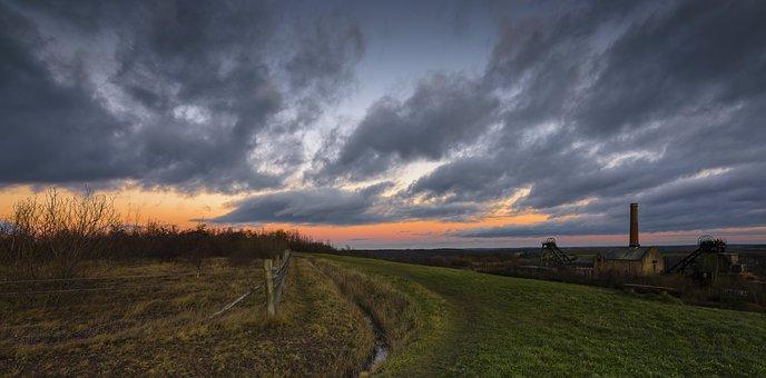 Sunset, Mining, Industrial, Coal, Sky, Landscape