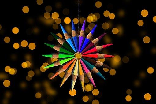 Star, Colored Pencils, Bokeh, Background, Wallpaper