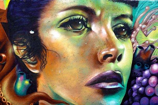 Wall, Art, Face, Girl, Colors