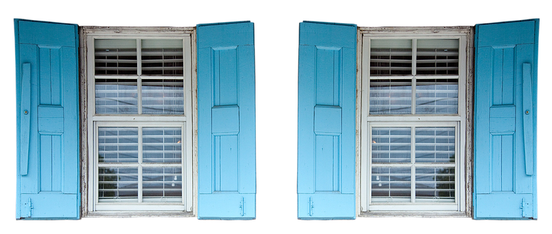 Shutters, Window, Blue, Curtains, Seedlings, Old