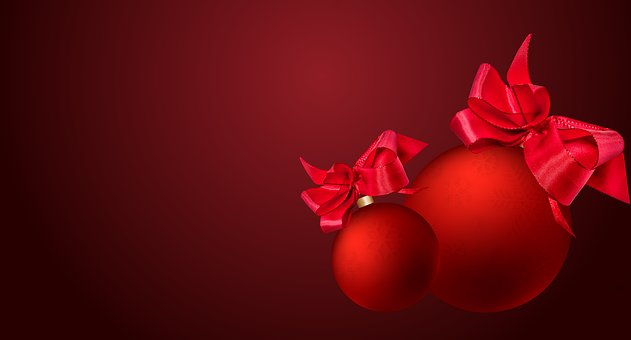 Christmas, Background, Balls, Bow, Decoration