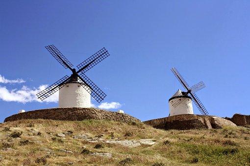 Spain, Windmill, Don Quixote, La Mancha, Wind, Mill