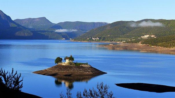 Landscape, Nature, Lake, Ile, Chapel, Mountain, Water
