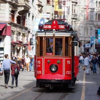 Turkey, Istanbul, Istiklal, Tram, Red Tram