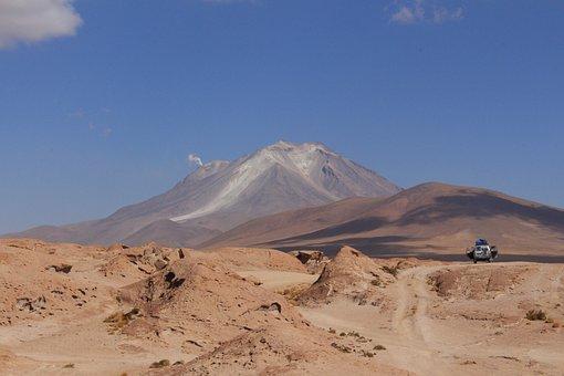 Desert, Jeep, Volcano, Cloud Of Smoke, Vehicle