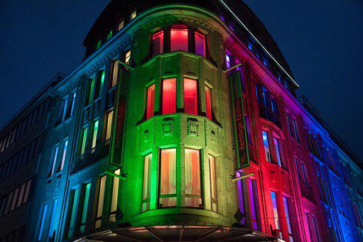 Re Is Lit, Colorful Facade, Lighting, Recklinghausen
