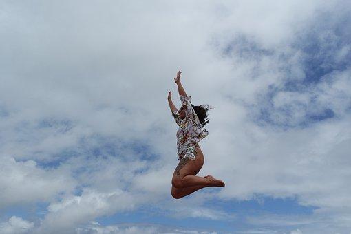 Blue Sky, Cloud, Jump, Nature, Landscape, Sky, Clouds