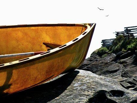 Marooned, Boat, Coast, Water, Shore, Nautical, Rowboat