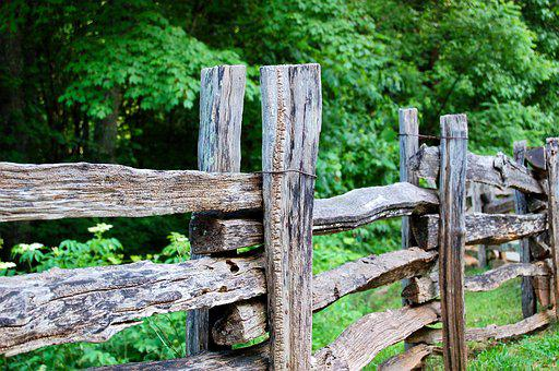 Fence, Wooden, Natural, Rough, Outdoor, Weathered, Old