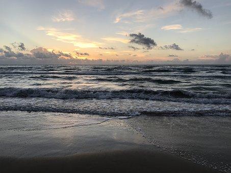 Beach, Sunrise, South Padre Island, Texas, Tx, Clouds