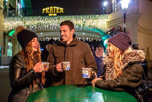 Winter Market At The Prater, Vienna, Mulled Wine, Punch