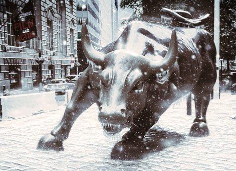 Usa, New York, Wall Street, Bull, Metal, City, Street