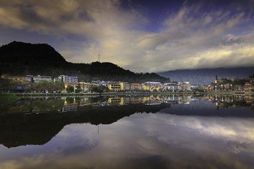 Sa Pa, Town, Lake, Soi Ball, Dawn, Sky, White Cloud