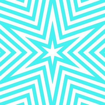 Aqua, Turquoise, Geometric, Star, White, Blue, Radiate