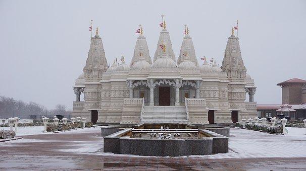Baps, Hindu Temple, Religion, Snow, White, Winter