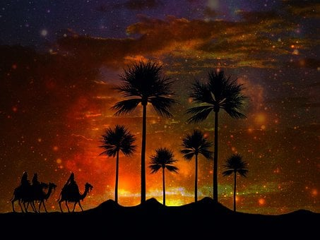 Oasis, Desert, Holy Three Kings, Palm Trees, Camels