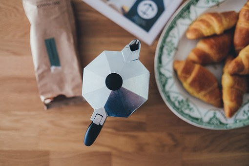 Cafe, Espresso, Pot, Table, Croissant, Beans, Bag