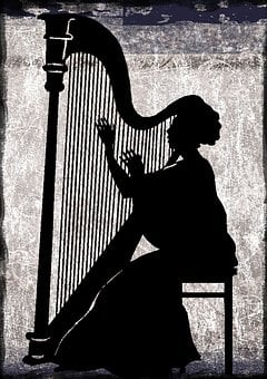 Classical, Harp, Silhouette, Concert, Event, Music