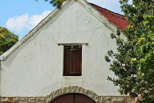 Barn, Farm, Building, White, Loft, Door, Shutter, Wood