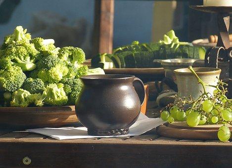 Table, Ceramic, Food, Krug, Broccoli, Vegetables, Eat