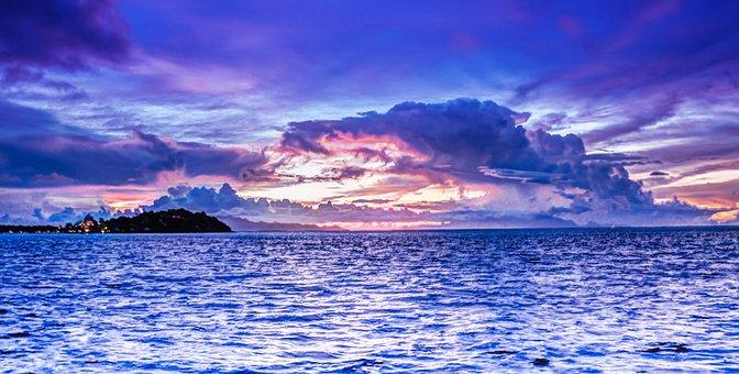 Bora-bora, Sunset, Clouds, Sky, Ocean, Island, Vacation