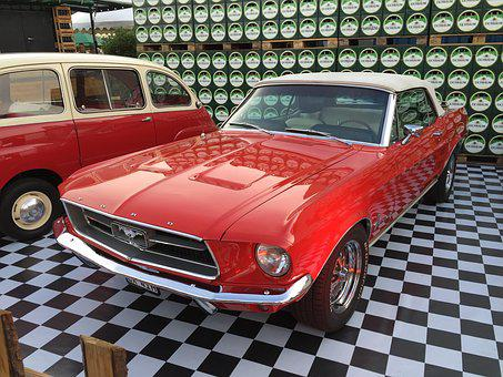 Ford, Mustang, Oldtimer, Classic, Red, Muscle, Usa