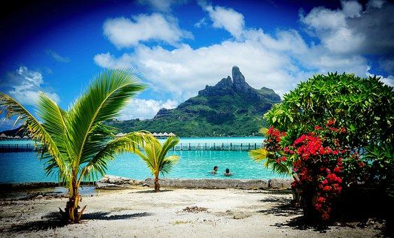 Bora Bora, Mountain, Ocean, Pacific, Polynesia, French