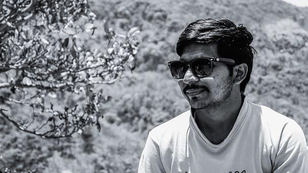 Male, Person, Indian, Man, Sunglasses, Black And White