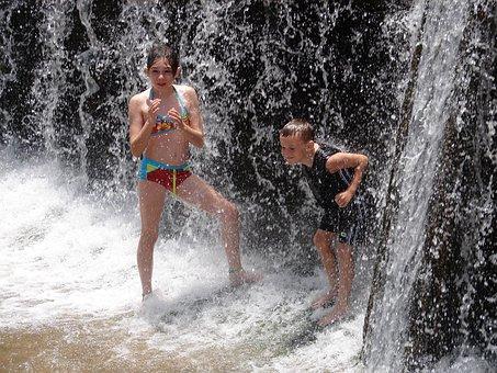 Refreshing, Water, Waterfall, Children, Play, Swimsuit