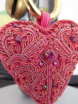 Heart, Embroidery, Red, Beads, Needlework