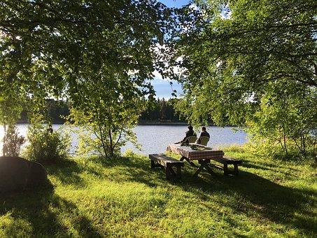 Finland, Sun, Garden, Cottage, Simo, Lake, Shore, Rest
