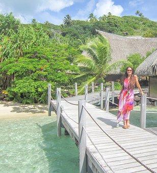 Bora-bora, Woman, Ocean, Travel, Polynesia, Sea
