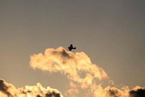 Biplane, Flying, Silhouette, Air Show, Propeller