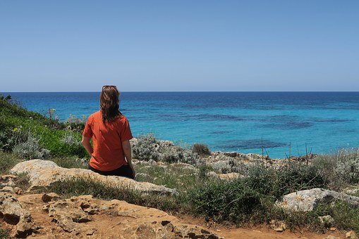 Girl, Seaside, Solitude, Only, Rear View, Solityde