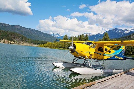 Bi Plane, Bi-plane, Small Plane, Yellow, Water, Plane