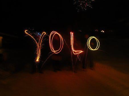 Yolo, Sparklers, New Year, You Only Live Once, Acronym