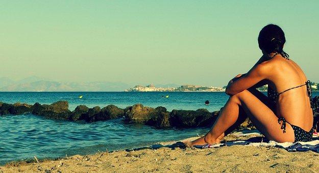 Young Woman, Beach, Summer, Sunbathing, Holiday
