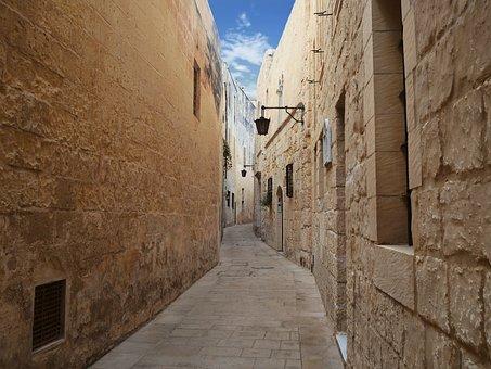 Mdina, Malta, Alley, Valletta, Tourism, Europe, Town
