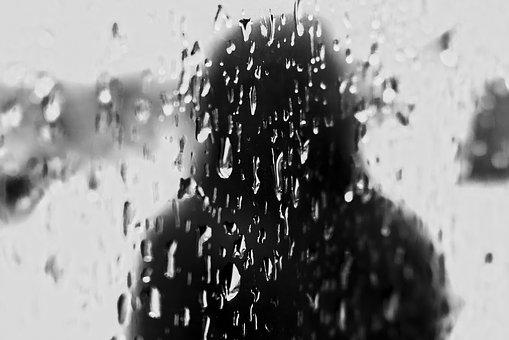 Black, White, Black And White, Water, Droplets, Glass