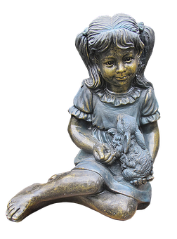 Girl, Hare, Figure, Ceramic, Burnished, Sculpture