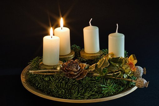 Advent, 2, Candles, Candlelight, Christmas