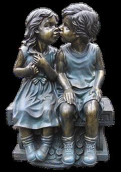 Girl, Boy, Pair, Figure, Ceramic, Sitting, Kiss, Love