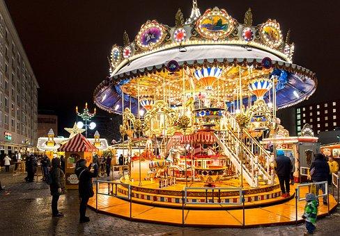 Carousel, Christmas Market, Ride, Winter, Lights
