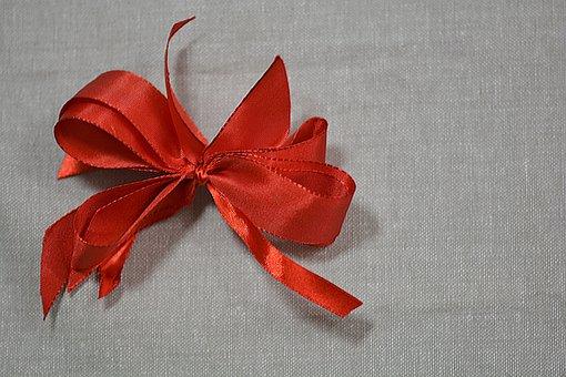 Christmas, Bow, Linen, Decoration, Copy Space, Rustic
