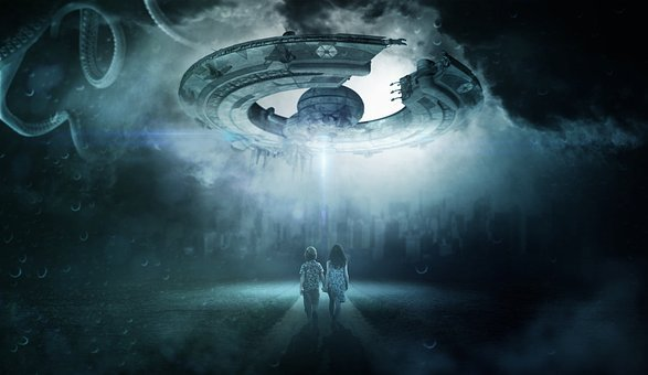 Ufo, Children, Alien, Sky, Evening, Futuristic