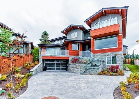 Balcony, Beautiful, Bushes, Cloudy, Fence, Fir, Garage