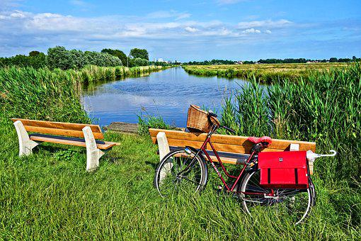 Bicycle, Bench, Waterway, Field, Polder