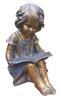 Girl, Read, Read Out, Book, Figure, Ceramic, Burnished